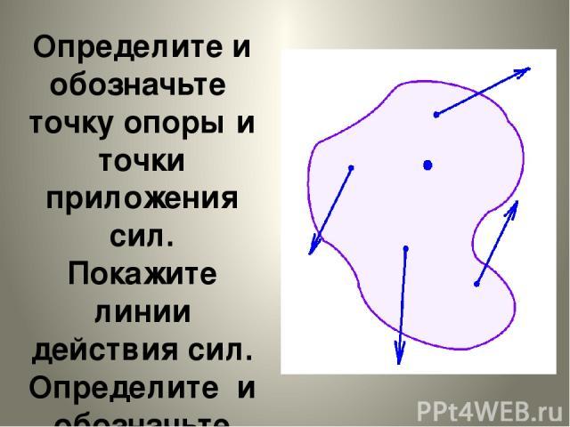 Определите и обозначьте точку опоры и точки приложения сил. Покажите линии действия сил. Определите и обозначьте плечо большей силы.