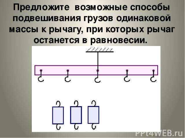 Предложите возможные способы подвешивания грузов одинаковой массы к рычагу, при которых рычаг останется в равновесии.