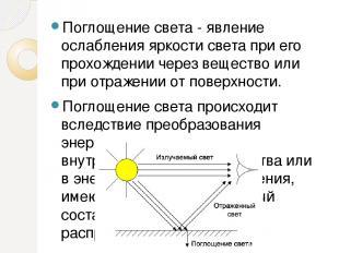 Поглощение света - явление ослабления яркости света при его прохождении через ве