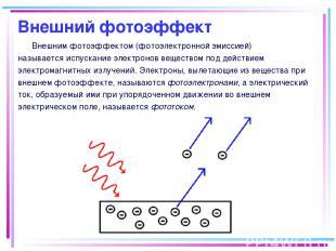 Внешний фотоэффект Внешним фотоэффектом (фотоэлектронной эмиссией) называется ис