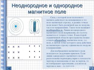 Неоднородное и однородное магнитное поле Сила, с которой поле полосового магнита