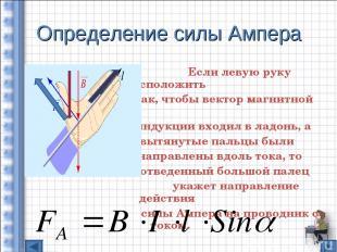 Определение силы Ампера Если левую руку расположить так, чтобы вектор магнитной