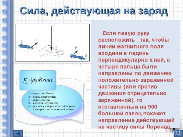Сила, действующая на заряд Если левую руку расположить так, чтобы линии магнитного поля входили в ладонь перпендикулярно к ней, а четыре пальца были направлены по движению положительно зараженной частицы (или против движения отрицательно заряженной)…