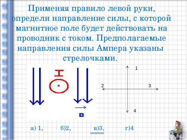 Применяя правило левой руки, определи направление силы, с которой магнитное поле будет действовать на проводник с током. Предполагаемые направления силы Ампера указаны стрелочками. 1 2 3 4 а) 1, б)2, в)3, г)4