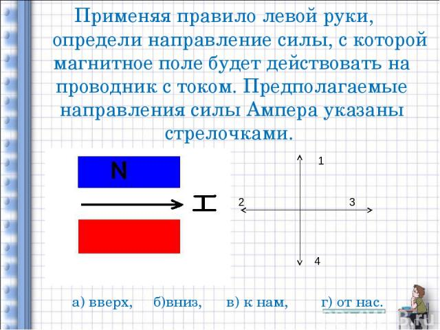 Применяя правило левой руки, определи направление силы, с которой магнитное поле будет действовать на проводник с током. Предполагаемые направления силы Ампера указаны стрелочками. 1 2 3 4 а) вверх, б)вниз, в) к нам, г) от нас.