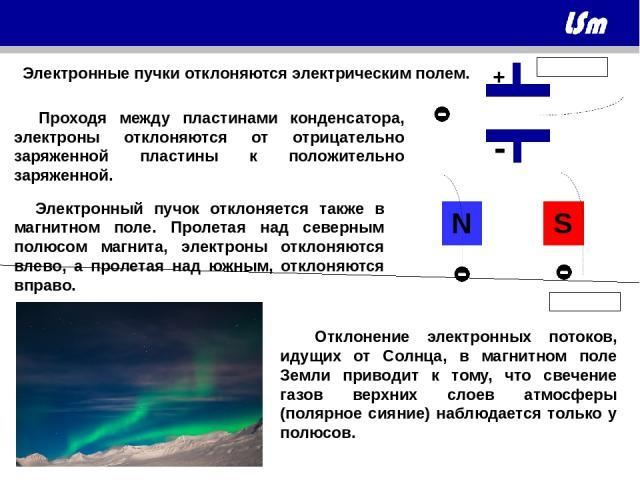 Электронные пучки отклоняются электрическим полем. Электронный пучок отклоняется также в магнитном поле. Пролетая над северным полюсом магнита, электроны отклоняются влево, а пролетая над южным, отклоняются вправо. Отклонение электронных потоков, ид…