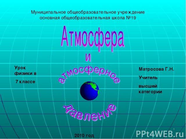 * Муниципальное общеобразовательное учреждение основная общеобразовательная школа №19 Урок физики в 7 классе Матросова Г.Н. Учитель высшей категории 2010 год