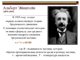 Альберт Эйнштейн (1879-1955) В 1905 году создал первую количественную теорию бро