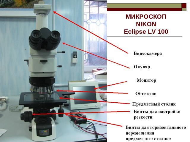 МИКРОСКОП NIKON Eclipse LV 100 Видеокамера Окуляр Предметный столик Объектив Монитор Винты для горизонтального перемещения предметного столика Винты для настройки резкости