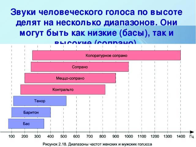 Звуки человеческого голоса по высоте делят на несколько диапазонов. Они могут быть как низкие (басы), так и высокие (сопрано).