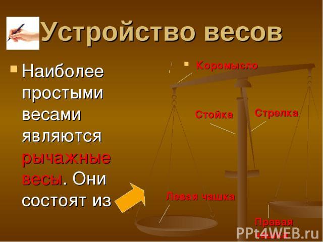 Устройство весов Наиболее простыми весами являются рычажные весы. Они состоят из Коромысло Стойка Стрелка Левая чашка Правая чашка