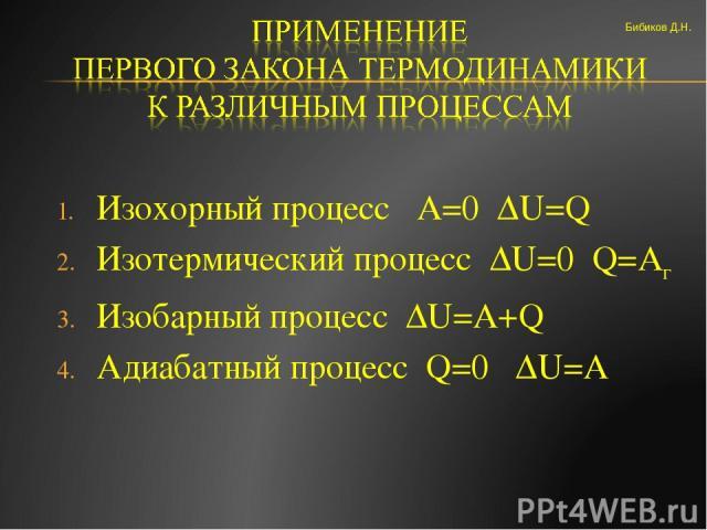 Изохорный процесс А=0 ΔU=Q Изотермический процесс ΔU=0 Q=Aг Изобарный процесс ΔU=A+Q Адиабатный процесс Q=0 ΔU=A Бибиков Д.Н.