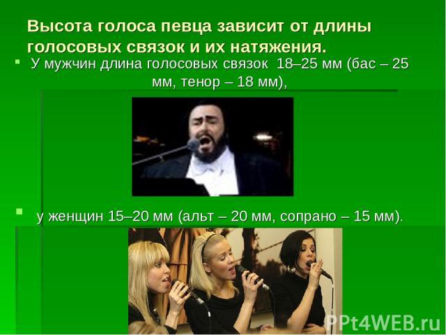 Высота голоса певца зависит от длины голосовых связок и их натяжения. У мужчин длина голосовых связок 18–25 мм (бас – 25 мм, тенор – 18 мм), у женщин 15–20 мм (альт – 20 мм, сопрано – 15 мм).