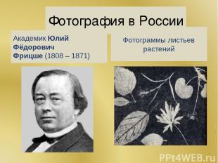Фотография в России АкадемикЮлий Фёдорович Фрицше(1808 – 1871) Фотограммы лист