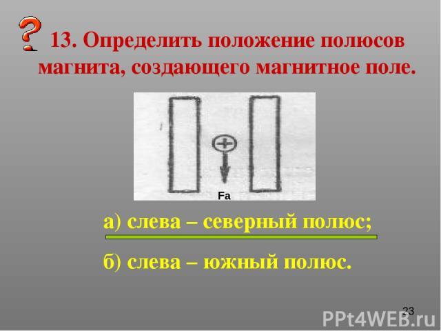 13. Определить положение полюсов магнита, создающего магнитное поле. а) слева – северный полюс; б) слева – южный полюс. Fа