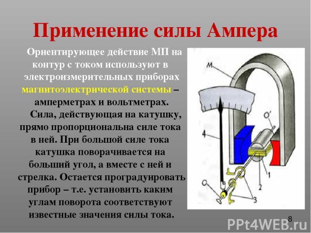 Применение силы Ампера Ориентирующее действие МП на контур с током используют в электроизмерительных приборах магнитоэлектрической системы – амперметрах и вольтметрах. Сила, действующая на катушку, прямо пропорциональна силе тока в ней. При большой …