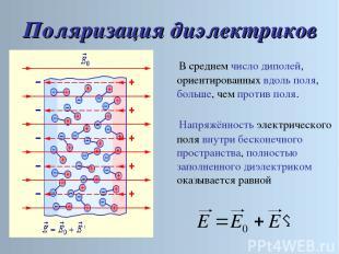 Поляризация диэлектриков Напряжённость электрического поля внутри бесконечного п