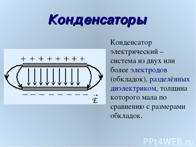 Конденсаторы E Конденсатор электрический – система из двух или более электродов (обкладок), разделённых диэлектриком, толщина которого мала по сравнению с размерами обкладок.