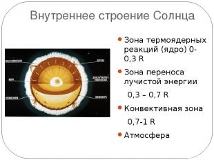 Внутреннее строение Солнца Зона термоядерных реакций (ядро) 0-0,3 R Зона перенос