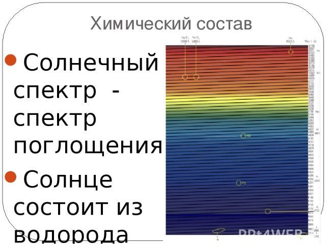 Химический состав Солнечный спектр - спектр поглощения Солнце состоит из водорода (~71%), гелия (~27%) и других элементов (2%): железа, никеля, кислорода, азота, кремния, серы, магния, углерода, неона, кальция и хрома. На 1 млн атомов …