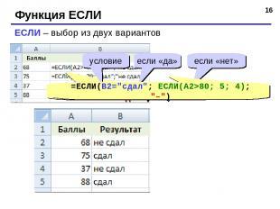 """* Функция ЕСЛИ ЕСЛИ – выбор из двух вариантов =ЕСЛИ(A2>=70; """"сдал""""; """"не сдал"""") у"""