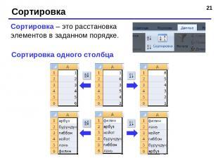 * Сортировка Сортировка – это расстановка элементов в заданном порядке. Сортиров