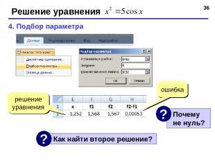 * Решение уравнения 4. Подбор параметра ошибка решение уравнения