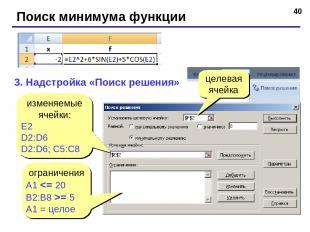 * Поиск минимума функции 3. Надстройка «Поиск решения» изменяемые ячейки: E2 D2: