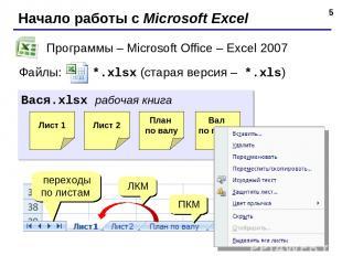 * Начало работы с Microsoft Excel Программы – Microsoft Office – Excel 2007 Файл