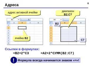 * Адреса адрес активной ячейки ячейка B2 диапазон B2:С7 Ссылки в формулах: =B2+2