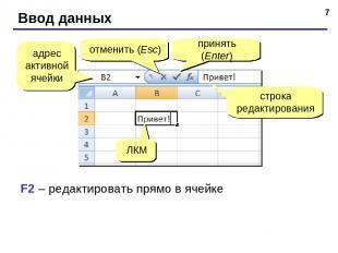 * Ввод данных адрес активной ячейки отменить (Esc) принять (Enter) строка редакт