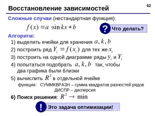 * Восстановление зависимостей Сложные случаи (нестандартная функция): Алгоритм: