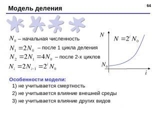 * Модель деления – начальная численность – после 1 цикла деления – после 2-х цик