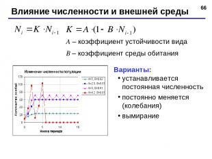* Влияние численности и внешней среды A – коэффициент устойчивости вида B – коэф