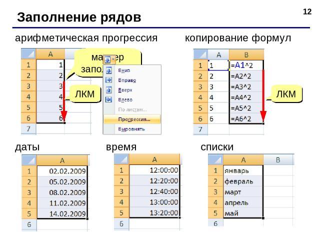 * Заполнение рядов арифметическая прогрессия маркер заполнения копирование формул ЛКМ даты списки время ЛКМ