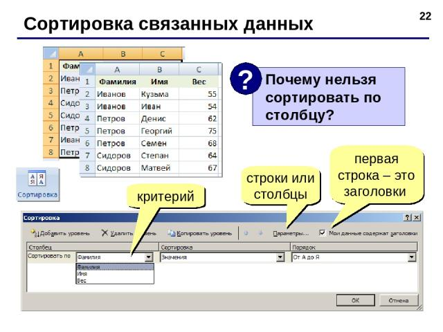 * Сортировка связанных данных критерий строки или столбцы первая строка – это заголовки