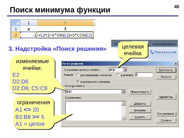 * Поиск минимума функции 3. Надстройка «Поиск решения» изменяемые ячейки: E2 D2:D6 D2:D6; C5:C8 целевая ячейка ограничения A1 = 5 A1 = целое