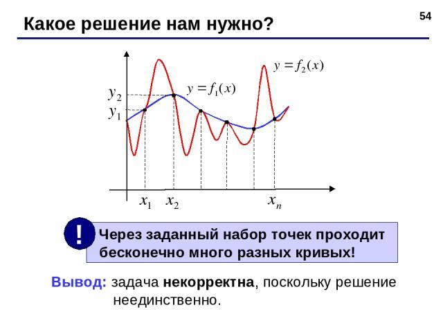 * Какое решение нам нужно? Вывод: задача некорректна, поскольку решение неединственно.