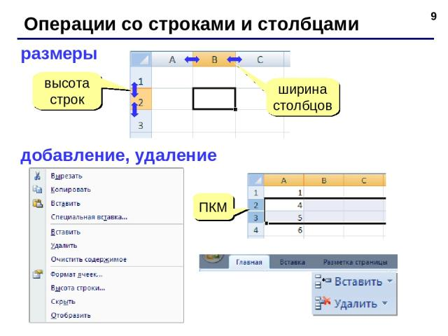 * Операции со строками и столбцами размеры высота строк ширина столбцов добавление, удаление ПКМ