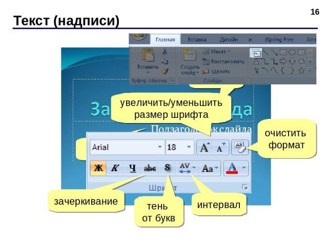 Текст (надписи) * ЛКМ ЛКМ зачеркивание тень от букв интервал очистить формат увеличить/уменьшить размер шрифта