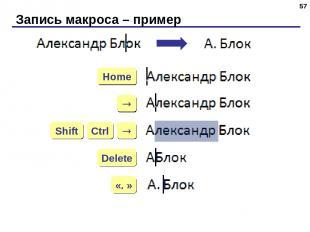 Запись макроса – пример * Home Delete «. » Ctrl Shift