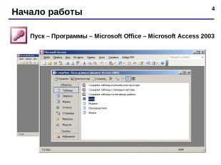 * Начало работы Пуск – Программы – Microsoft Office – Microsoft Access 2003