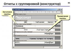 * Отчеты с группировкой (конструктор) Заголовок группы Примечание группы