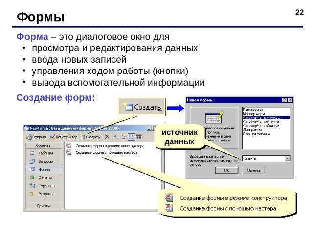 * Формы Форма – это диалоговое окно для просмотра и редактирования данных ввода новых записей управления ходом работы (кнопки) вывода вспомогательной информации Создание форм: источник данных