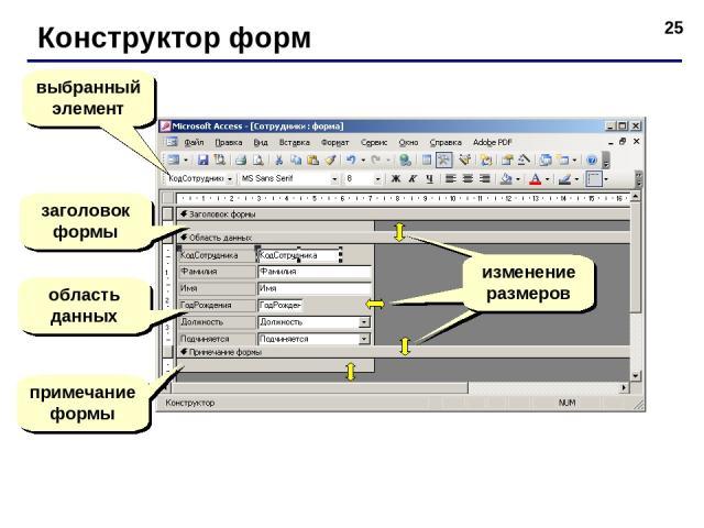 * Конструктор форм выбранный элемент заголовок формы область данных примечание формы