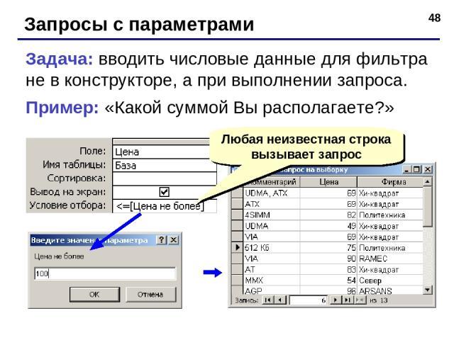 * Запросы с параметрами Задача: вводить числовые данные для фильтра не в конструкторе, а при выполнении запроса. Пример: «Какой суммой Вы располагаете?» Любая неизвестная строка вызывает запрос