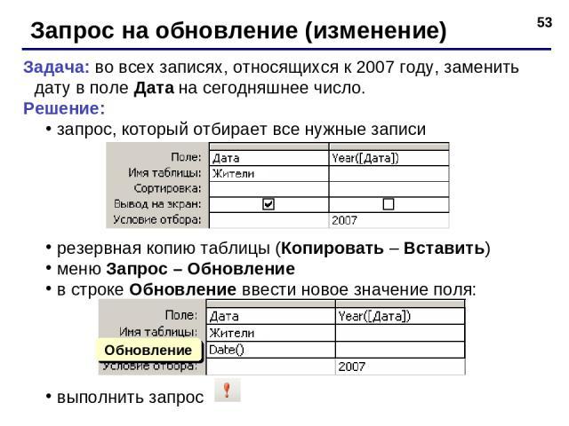 * Запрос на обновление (изменение) Задача: во всех записях, относящихся к 2007 году, заменить дату в поле Дата на сегодняшнее число. Решение: запрос, который отбирает все нужные записи резервная копию таблицы (Копировать – Вставить) меню Запрос – Об…