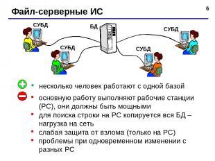 * Файл-серверные ИС несколько человек работают с одной базой основную работу вып