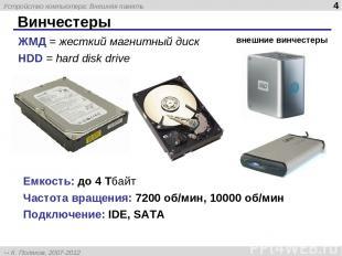 Винчестеры Емкость: до 4 Тбайт Частота вращения: 7200 об/мин, 10000 об/мин Подкл