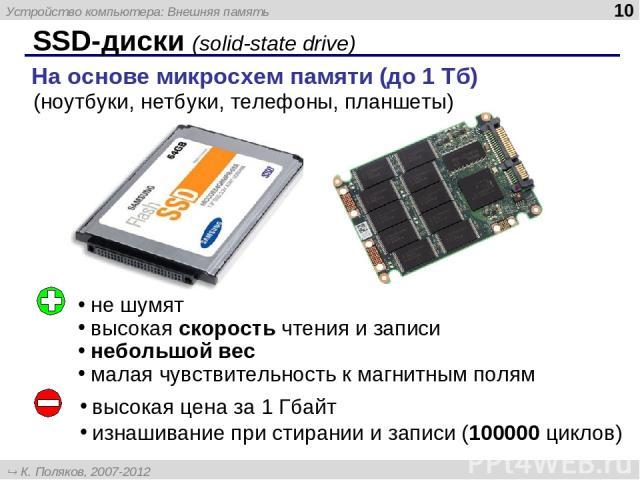 SSD-диски (solid-state drive) На основе микросхем памяти (до 1 Тб) не шумят высокая скорость чтения и записи небольшой вес малая чувствительность к магнитным полям высокая цена за 1 Гбайт изнашивание при стирании и записи (100000 циклов) (ноутбуки, …